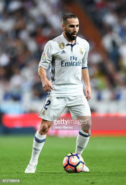 Daniel Carvajal of Real Madrid CF runs with the ball during the La Liga match between Real Madrid CF and FC Barcelona at the Santiago Bernabeu...