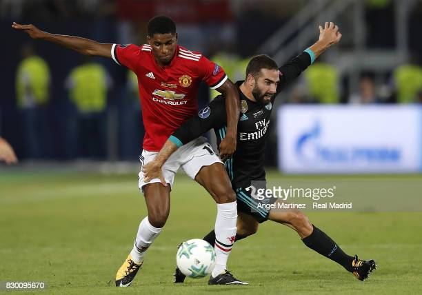 Daniel Carvajal of Real Madrid competes for the ball with Marcus Rashford of Manchester United during the UEFA Super Cup match between Real Madrid...