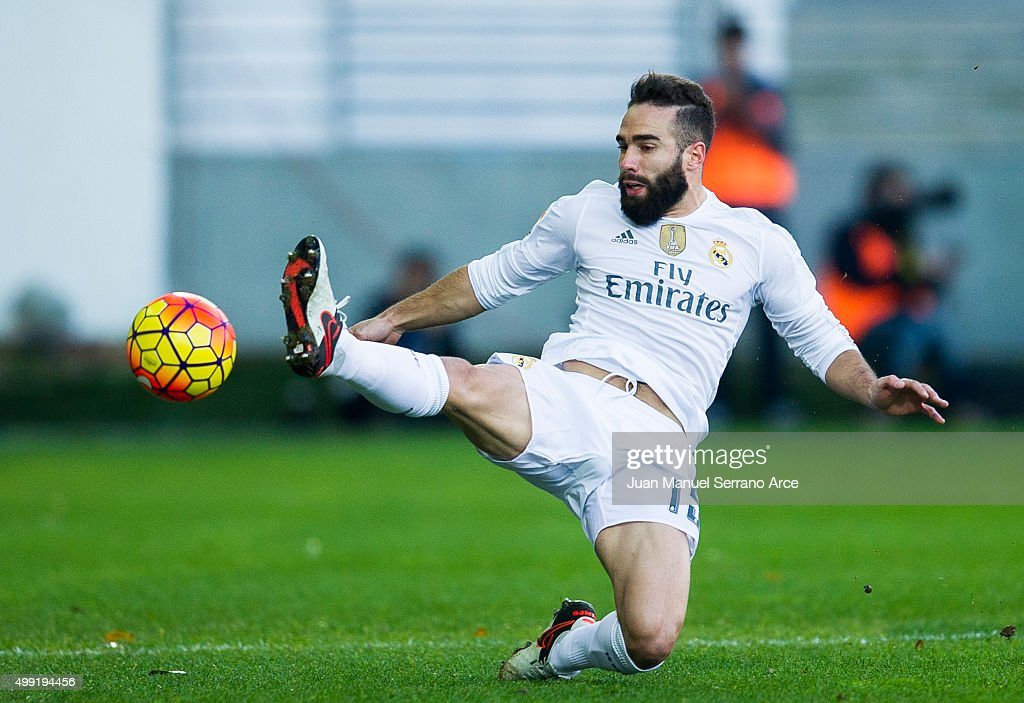 Daniel Carvajal of Real Madrid controls the ball during the La Liga match between SD Eibar and Real Madrid at Ipurua Municipal Stadium on November 29, 2015 in Eibar, Spain.