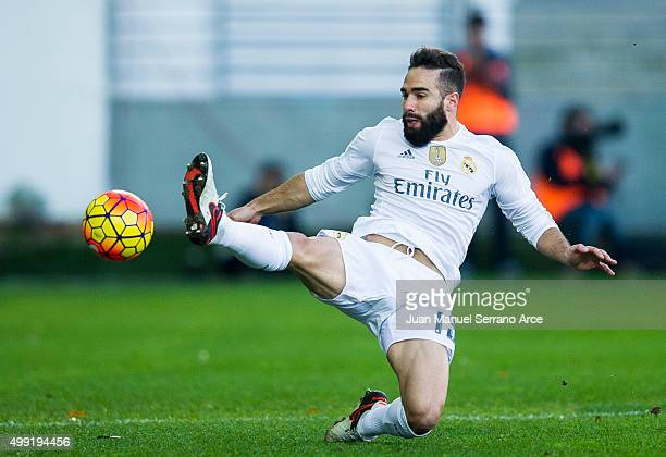 Daniel Carvajal of Real Madrid controls the ball during the La Liga match between SD Eibar and Real Madrid at Ipurua Municipal Stadium on November 29...
