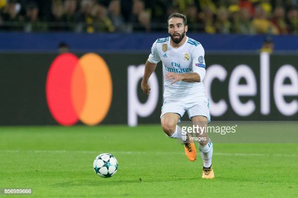 Daniel Carvajal of Real Madrid controls the ball during the UEFA Champions League group H match between Borussia Dortmund and Real Madrid at Signal...