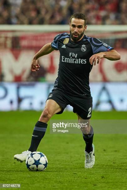 Daniel Carvajal of Real Madrid controls the ball during the UEFA Champions League Quarter Final first leg match between FC Bayern Muenchen and Real...