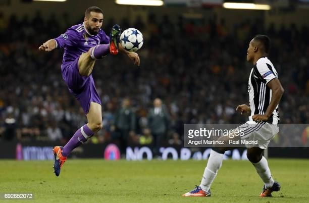 Daniel Carvajal of Real Madrid controls the ball during the UEFA Champions League Final match between Juventus and Real Madrid at National Stadium of...