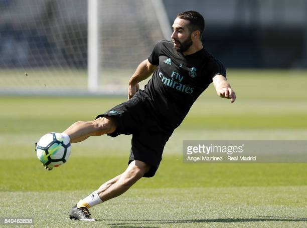 Daniel Carvajal of Real Madrid in action during a training session at Valdebebas training ground on September 19 2017 in Madrid Spain
