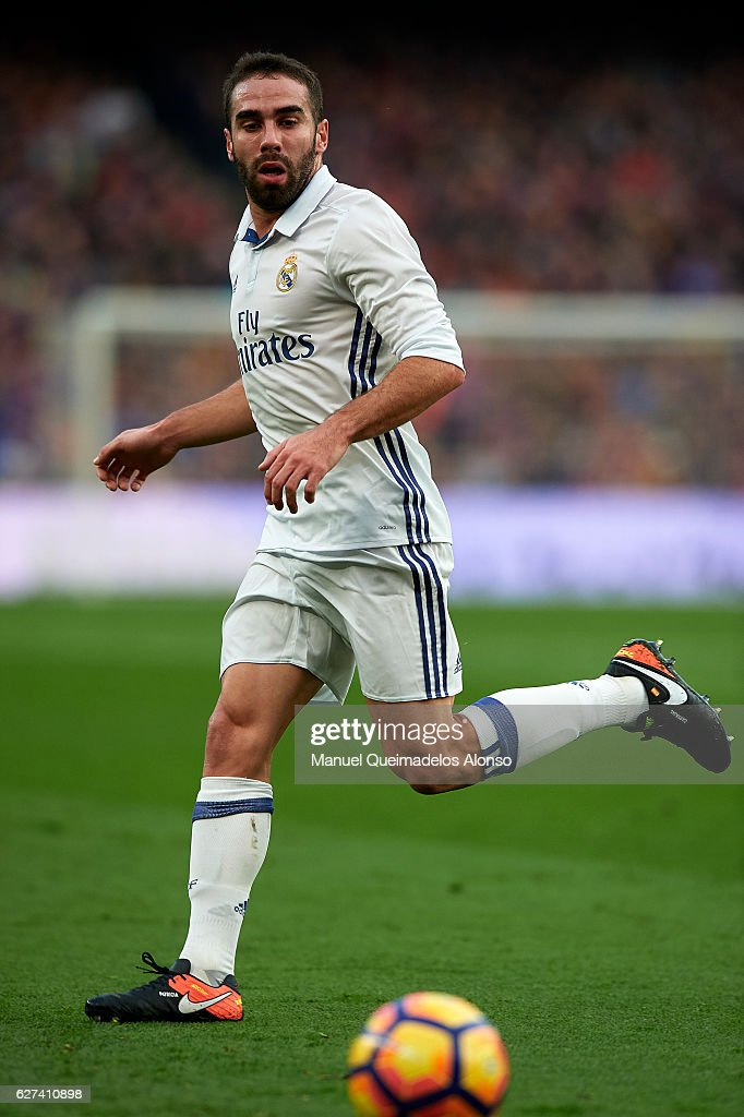 Daniel Carvajal of Real Madrid in action during the La Liga match between FC Barcelona and Real Madrid CF at Camp Nou stadium on December 03 2016 in...