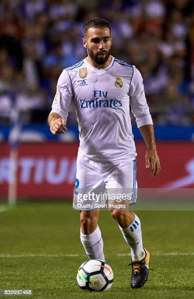 Daniel Carvajal of Real Madrid in action during the La Liga match between Deportivo La Coruna and Real Madrid at Riazor Stadium on August 20 2017 in...