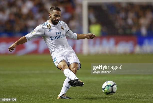 Daniel Carvajal of Real Madrid in action during the La Liga match between Deportivo La Coruna and Real Madrid CF at Riazor Stadium on August 20 2017...