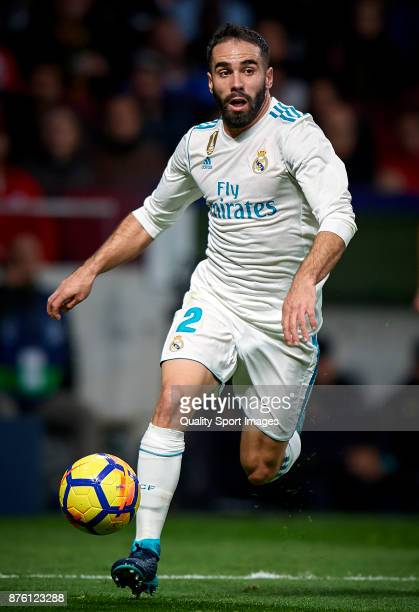 Daniel Carvajal of Real Madrid in action during the La Liga match between Atletico Madrid and Real Madrid at Wanda Metropolitano Stadium on November...