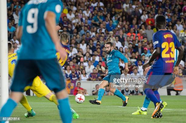 Daniel Carvajal of Real Madrid in action during the Supercopa de Espana Final 1st Leg match between FC Barcelona and Real Madrid at Camp Nou on...
