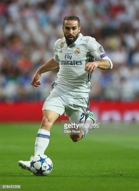 Daniel Carvajal of Real Madrid in action during the UEFA Champions League semi final first leg match between Real Madrid CF and Club Atletico de...
