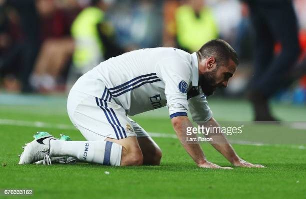 Daniel Carvajal of Real Madrid is injured during the UEFA Champions League semi final first leg match between Real Madrid CF and Club Atletico de...