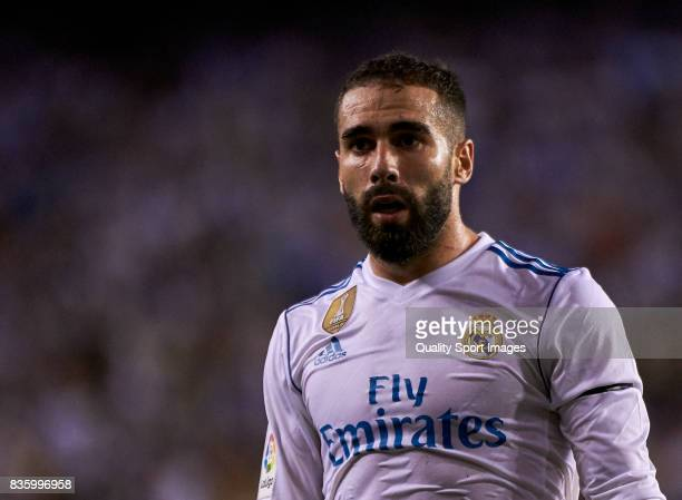 Daniel Carvajal of Real Madrid looks on during the La Liga match between Deportivo La Coruna and Real Madrid at Riazor Stadium on August 20 2017 in...