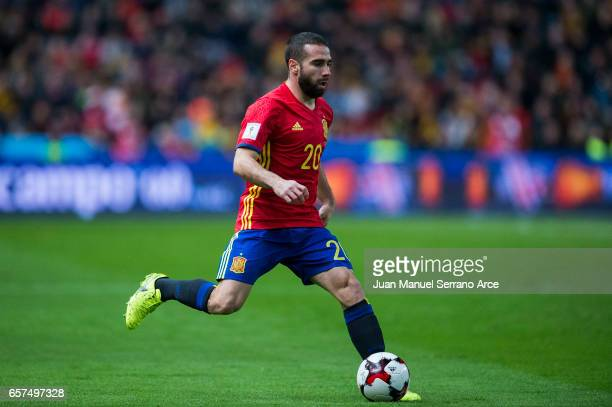 Daniel Carvajal of Spain controls the ball during the FIFA 2018 World Cup Qualifier between Spain and Israel at Estadio El Molinon on March 24 2017...
