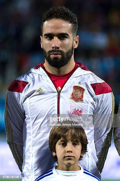 Daniel Carvajal of Spain stands prior to start the international friendly match between Spain and Costa Rica at Reino de Leon Stadium on June 11 2015...