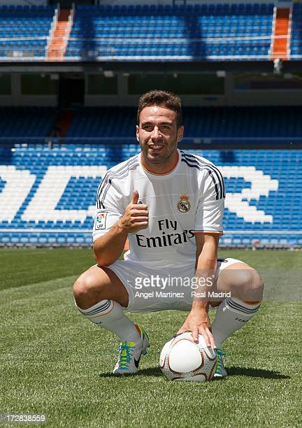 Daniel Carvajal poses during his official presentation as new Real Madrid player at the Santiago Bernabeu stadium on July 5 2013 in Madrid Spain