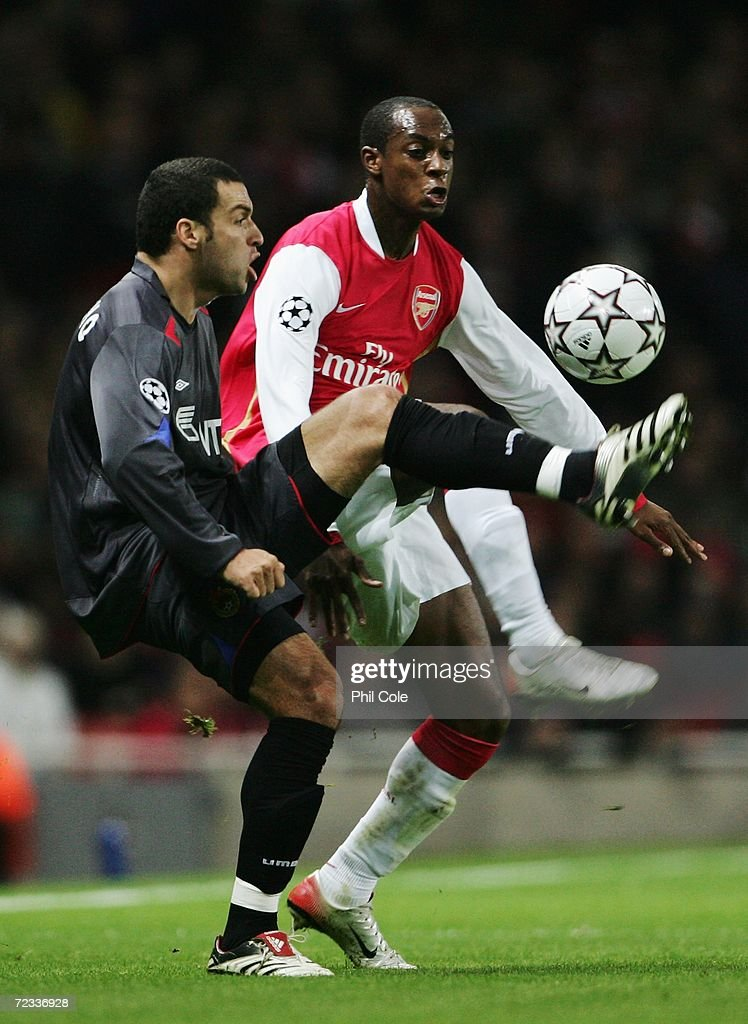 Daniel Carvalho (L) of CSKA Moscow and Justin Hoyte (R) of Arsenal challenge for the ball during the UEFA Champions League Group G match between Arsenal and CSKA Moscow at The Emirates Stadium on November 1, 2006 in London, England.