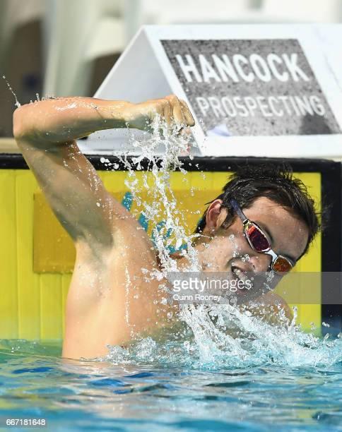 Daniel Cave of Australia celebrates winning the Men's 100m Breaststroke during the 2017 Australian Swimming Championships at the Sleeman Sports...