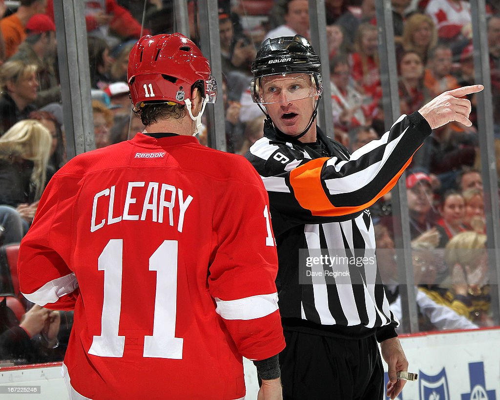 Daniel Ceary #11 of the Detroit Red Wings talks with Official <a gi-track='captionPersonalityLinkClicked' href=/galleries/search?phrase=Dan+O%27Rourke&family=editorial&specificpeople=844097 ng-click='$event.stopPropagation()'>Dan O'Rourke</a> #9 during a NHL game against the Phoenix Coyotes at Joe Louis Arena on April 22, 2013 in Detroit, Michigan.