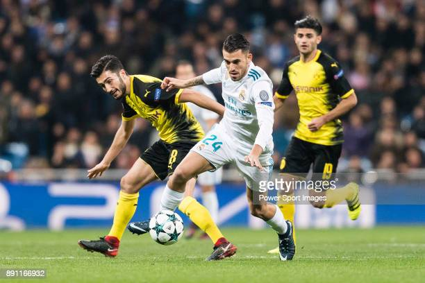Daniel Ceballos of Real Madrid fights for the ball with Borussia Dortmund Midfielder Nuri Sahin during the Europe Champions League 201718 match...