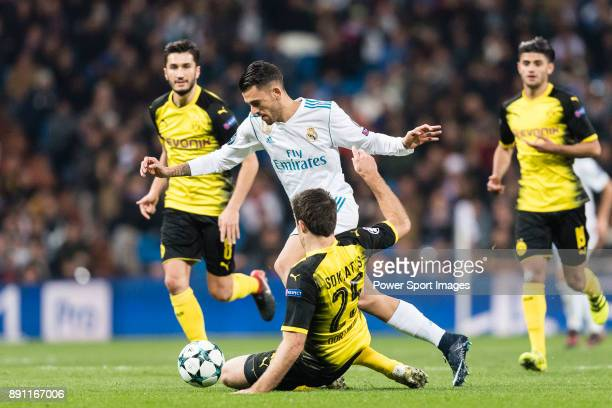 Daniel Ceballos of Real Madrid fights for the ball with Borussia Dortmund Defender Sokratis Papastathopoulos during the Europe Champions League...