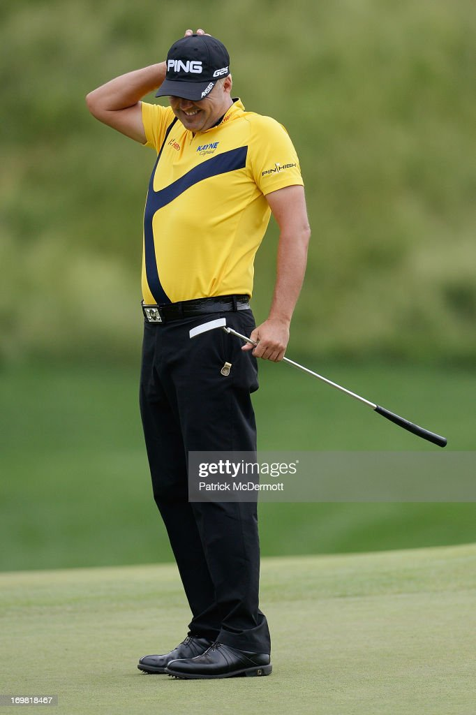 <a gi-track='captionPersonalityLinkClicked' href=/galleries/search?phrase=Daniel+Chopra&family=editorial&specificpeople=228104 ng-click='$event.stopPropagation()'>Daniel Chopra</a> of Sweden reacts after missing a putt on the 16th green during the Final Round of the Web.com Tour Mid-Atlantic Championship on June 2, 2013 at TPC Potomac at Avenel Farm in Potomac, Maryland.