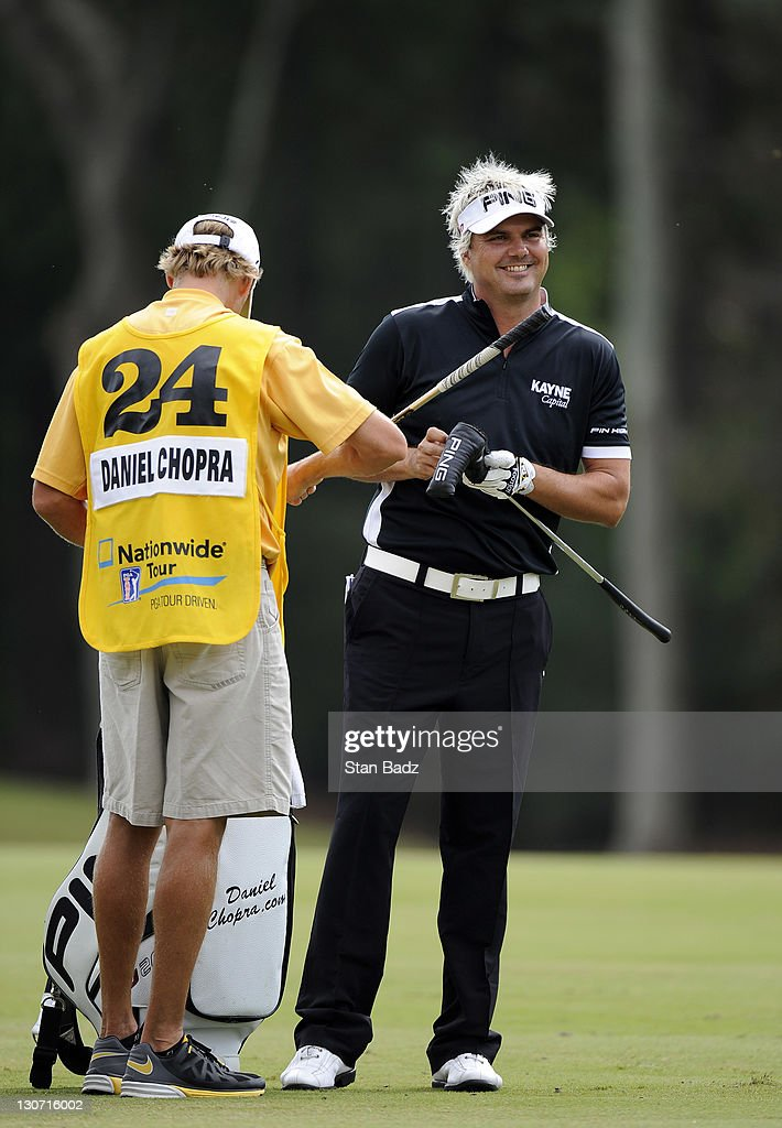 <a gi-track='captionPersonalityLinkClicked' href=/galleries/search?phrase=Daniel+Chopra&family=editorial&specificpeople=228104 ng-click='$event.stopPropagation()'>Daniel Chopra</a> of Sweden reacts to his chip shot to the 17th green during the second round of the Nationwide Tour Championship at Daniel Island Club on October 28, 2011 in Daniel Island, South Carolina.