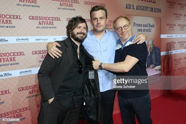 Daniel Christensen alias 'Floetzinger' Sebastian Bezzel and Simon Schwarz during the 'Griessnockerlaffaire' premiere at Mathaeser Filmpalast on...