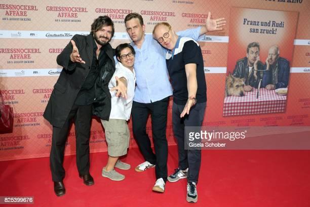 Daniel Christensen alias 'Floetzinger' Sebastian Bezzel and Simon Schwarz during the 'Griessnockerlaffaere' premiere at Mathaeser Filmpalast on...