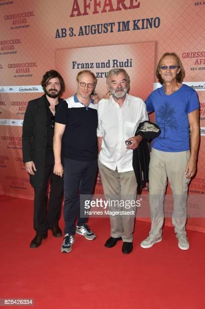 Daniel Christensen alias 'Floetzinger' Simon Schwarz Branko Samarovski and Sebastian Bezzel and during the 'Griessnockerlaffaere' premiere at...