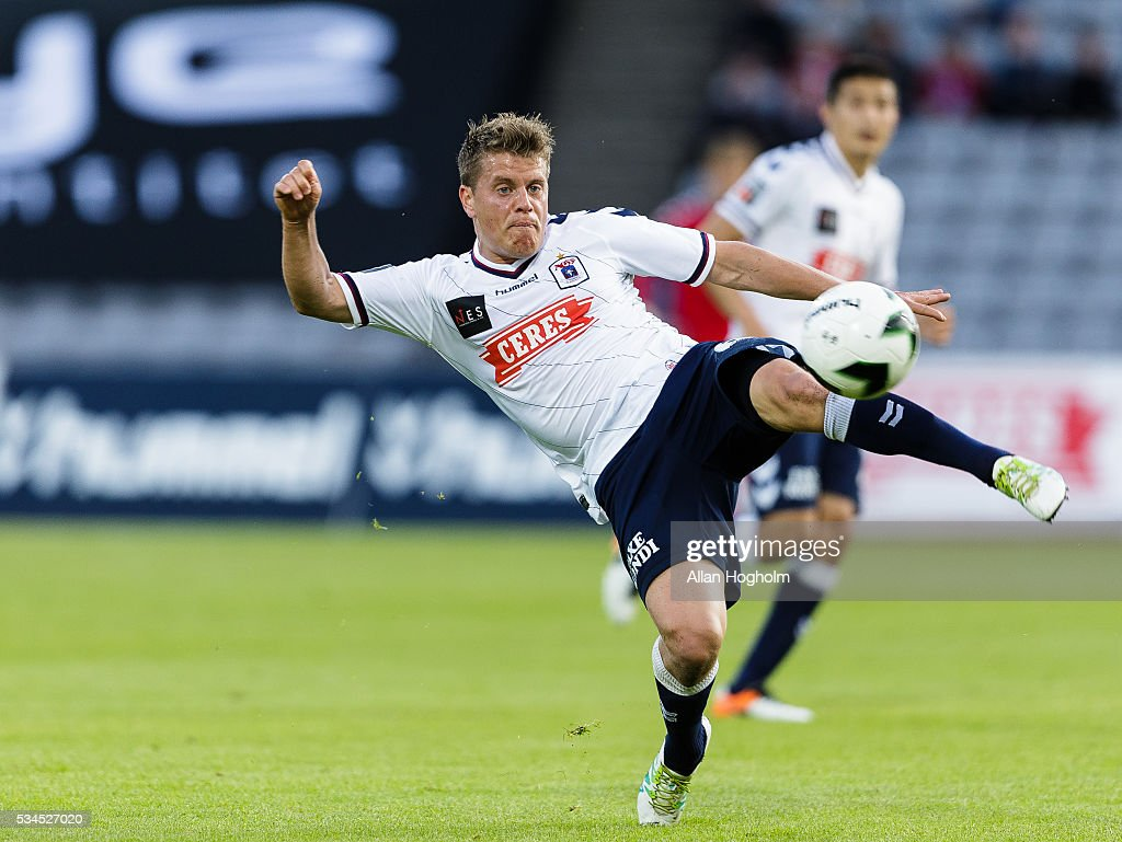 Daniel Christensen of AGF controls the ball during the Danish Alka Superliga match between AGF Aarhus and OB Odense at Ceres Park on May 26, 2016 in Aarhus, Denmark.