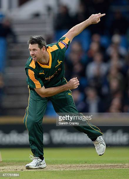 Daniel Christian of Nottinghamshire bowls during the NatWest T20 Blast match between Yorkshire and Nottinghamshire at Headingley on June 19 2015 in...