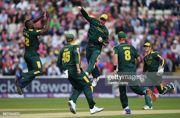 Daniel Christian of Nottinghamshire celebrates with teammates after running out Adam Rossington of Northamptonshire during the NatWest t20 Blast Semi...