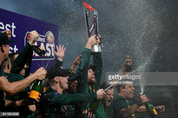 Daniel Christian of Notts lifts the trophy after winning the NatWest T20 Blast Final between Birmingham Bears and Notts Outlaws at Edgbaston on...