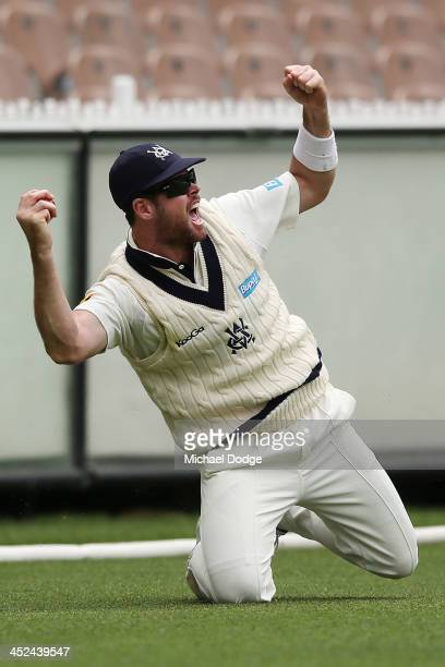 Daniel Christian of the Bushrangers celebrates catching out Michael Klinger of the Redbacks off the bowling of John Holland during day one of the...