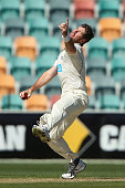 Daniel Christian of Victoria bowls during day one of the Sheffield Shield final match between Victoria and Western Australia at Blundstone Arena on...