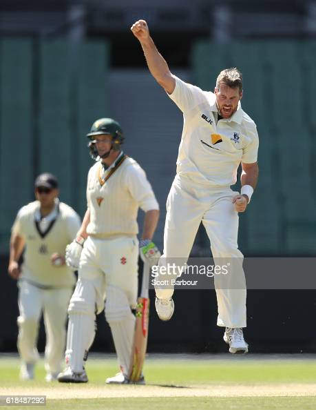Daniel Christian of Victoria celebrates as he dismisses Jake Doran of Tasmania during day three of the Sheffield Shield match between Victoria and...