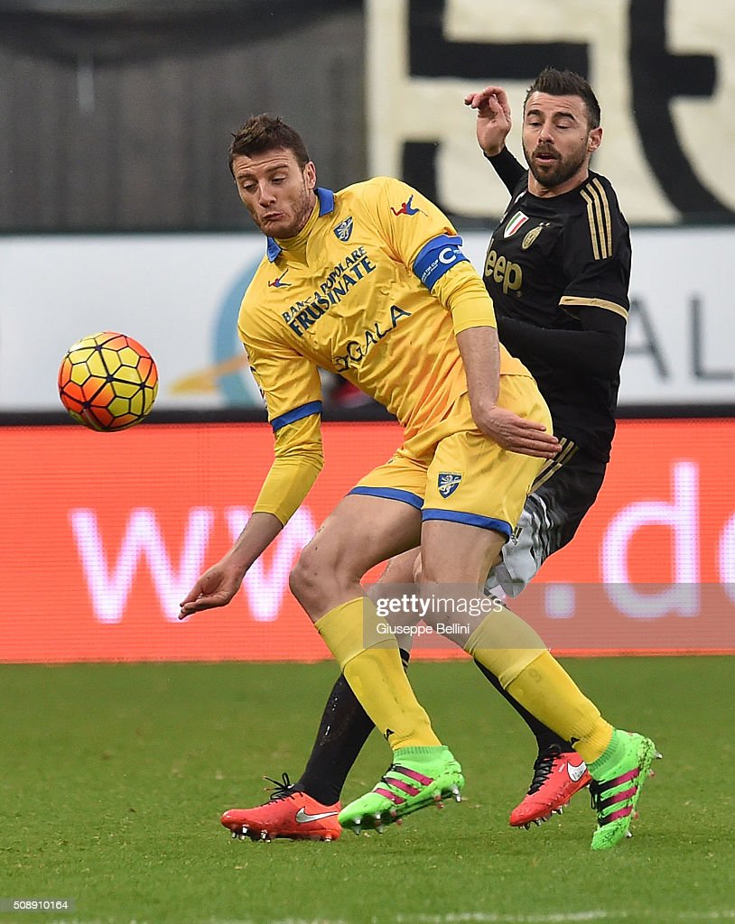 Daniel Ciofani of Frosinone and <a gi-track='captionPersonalityLinkClicked' href=/galleries/search?phrase=Andrea+Barzagli&family=editorial&specificpeople=465353 ng-click='$event.stopPropagation()'>Andrea Barzagli</a> of Juventus in action during the Serie A match between Frosinone Calcio and Juventus FC at Stadio Matusa on February 7, 2016 in Frosinone, Italy.