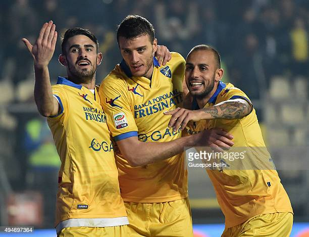 Daniel Ciofani of Frosinone celebrates after scoring the opening goal during the Serie A match between Frosinone Calcio and Carpi FC at Stadio Matusa...