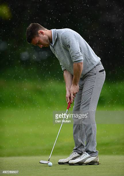 Daniel Clark of Playgolf Bournemouth plays a shot on the 18th hole during the Powerade PGA Assistants' Championship Western Regional Qualifier at...