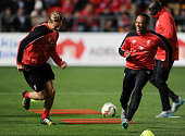 Daniel Cleary and Nathaniel Clyne of Liverpool during a training session at Coopers Stadium on July 19 2015 in Adelaide Australia