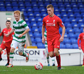 Daniel Cleary of Liverpool and Jack Breslin of Celtic in action during the Liverpool v Celtic Premier League U21 International Cup game at the...
