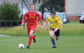 Daniel Cleary of Liverpool and Lynden Gooch of Sunderland in action during the Barclays Premier League Under 18 fixture between Liverpool and...