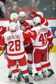 Daniel Cleary of the Detroit Red Wings center celebrates with teammates after a play during a break in game action against the Calgary Flames on...