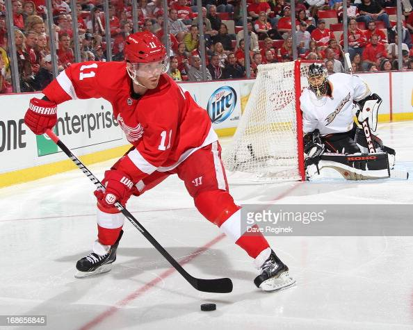 Daniel Cleary of the Detroit Red Wings controls the puck against the Anaheim Ducks during Game Three of the Western Conference Quarterfinals during...