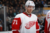 Daniel Cleary of the Detroit Red Wings during a break in play against the San Jose Sharks at SAP Center on January 9 2014 in San Jose California