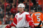 Daniel Cleary of the Detroit Red Wings looks on against the Philadelphia Flyers on January 28 2014 at the Wells Fargo Center in Philadelphia...