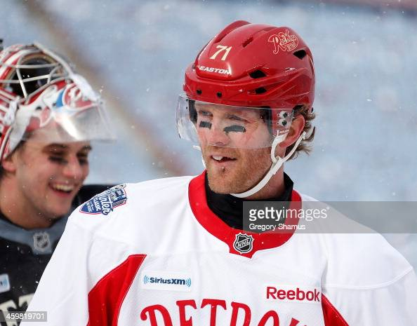 Daniel Cleary of the Detroit Red Wings looks on at practice during 2014 Bridgestone NHL Winter Classic at Michigan Stadium on December 31 2013 in Ann...