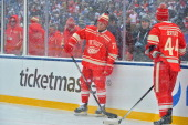 Daniel Cleary of the Detroit Red Wings looks on during warmup prior to the 2014 Bridgestone NHL Winter Classic on January 1 2014 at Michigan Stadium...