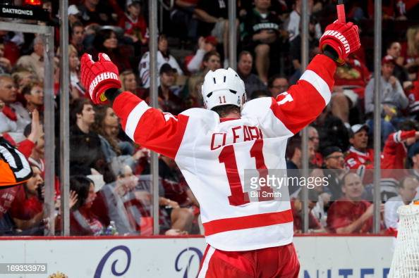 Daniel Cleary of the Detroit Red Wings reacts after the Red Wings scored against the Chicago Blackhakws in Game Two of the Western Conference...