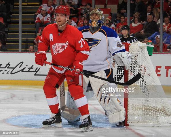 Daniel Cleary of the Detroit Red Wings sets up in front of Jaroslav Halak of the St Louis Blues during an NHL game on January 20 2014 at Joe Louis...